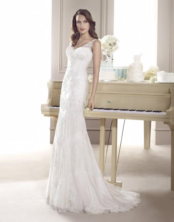 Rochie de mireasa din dantela, stil semi-sirena, 5612